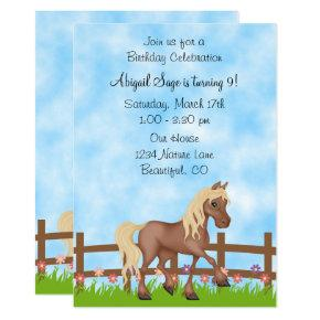 Pretty Brown Horse, Fence and Flowers Birthday Invitation