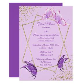 Pretty Butterflies, Glitter & Confetti Birthday Invitation