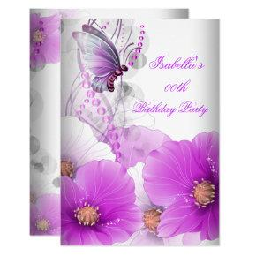 Pretty Floral Lilac Butterfly Birthday Party SML Invitation