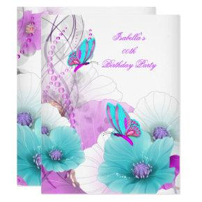 Pretty Floral Teal Pink Butterfly Birthday Party Invitations