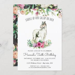 Pretty Horse and Flowers | Rustic Wood Birthday Invitation