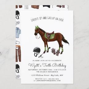 Pretty Horse Jockey Riding Birthday Party Invitation
