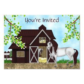 Pretty Horses and Barn Girls Birthday Invitation