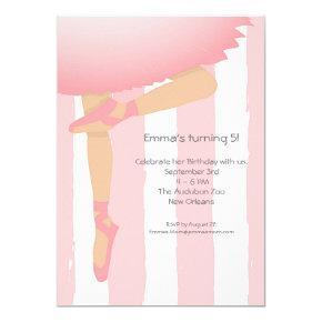 Pretty in Pink. Child's Ballerina Birthday Party Invitation