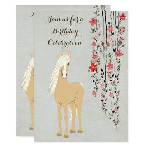 Pretty Palomino Pony Flowers Horse Birthday Invite