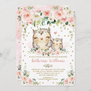 Pretty Pink Blush Floral Owl Girl Baby Shower Invitation