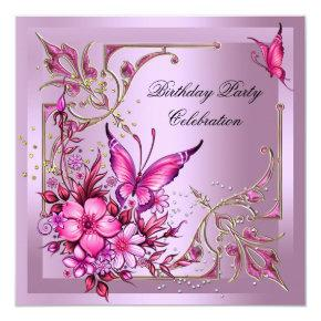 Pretty Pink Butterfly Birthday Party Invitation