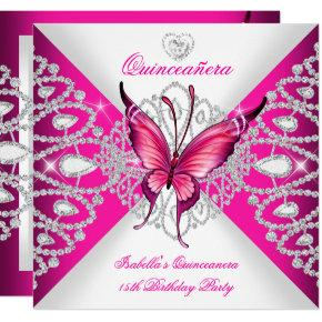 Pretty Pink Butterfly Tiara Quinceanera 15th Party Invitations