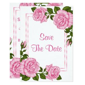 Pretty Pink Corner Bouquets 60th Save The Date Card