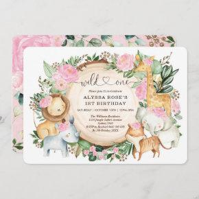 Pretty Pink Floral Safari Wild One 1st Birthday Invitation
