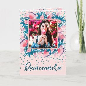 Pretty Pink Glitter Confetti Floral Quinceañera Invitation