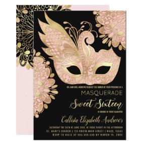 Pretty Pink Gold Black Masquerade Mask Sweet 16 Invitation