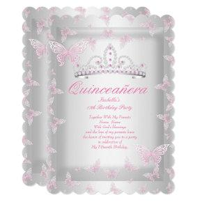 Pretty Pink Quinceanera Party Tiara Butterfly Invitations