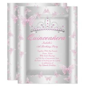 Pretty Pink Quinceanera Party Tiara Butterfly Invitation