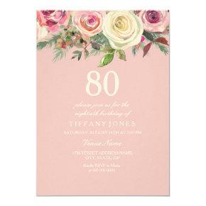 Pretty Pink Rose Floral 80th Birthday Felt Invite