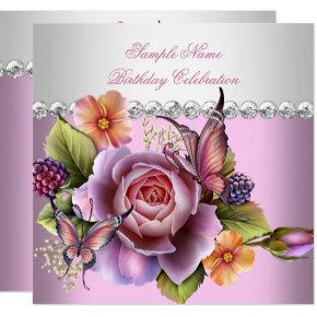Pretty Pink White Roses Butterfly Birthday Party Card