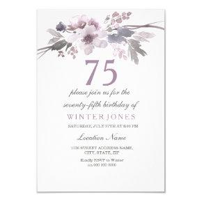 Pretty Purple Floral 75th Birthday Party Invite