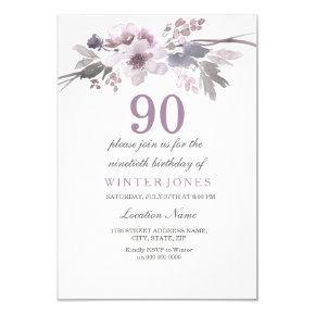 Pretty Purple Floral 90th Birthday Party Invite
