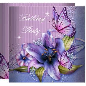 Pretty Purple Pink Butterfly Flowers Birthday Invitations