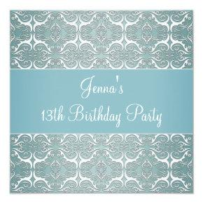 Pretty Teal Blue Damask 13th Birthday Party Invitations