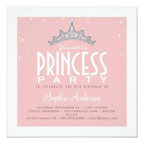 Pretty Tiara Princess Birthday Party Invitation