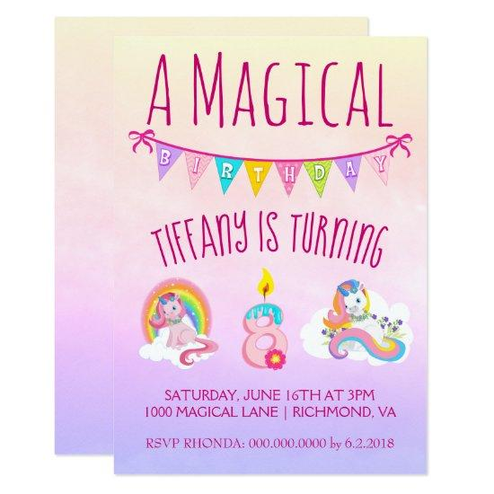 Pretty Unicorn Birthday Party For 8 Year Old Invitations