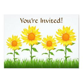 yellow sunflower party birthday invitations candied clouds