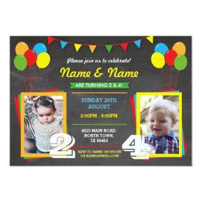 Primary Color Birthday Girls Boys Joint Photo Invitation