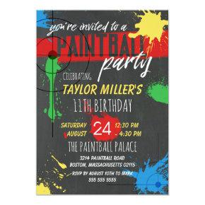 Primary Colors Paint Splash Paintball Party Invitations