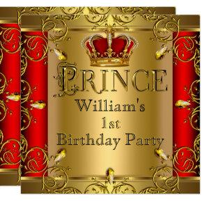 Prince 1st Birthday Boy Red Gold Crown 2 Invitations