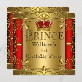 Prince 1st Birthday Boy Red Gold Crown 2 Invitation