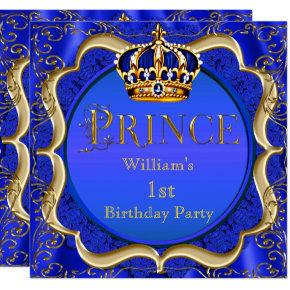 Prince 1st Birthday Boy Royal Blue Gold Crown A Invitation
