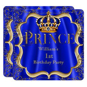 Prince 1st Birthday Boy Royal Blue Gold Crown B Invitation
