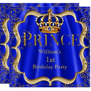 Prince 1st Birthday Boy Royal Blue Gold Crown B Invitations