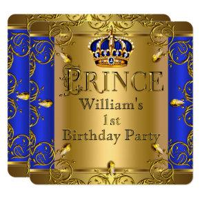 Prince 1st Birthday Boy Royal Blue Gold Crown Invitations