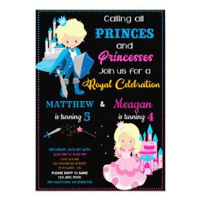 Prince and Princess birthday invitation Dual party
