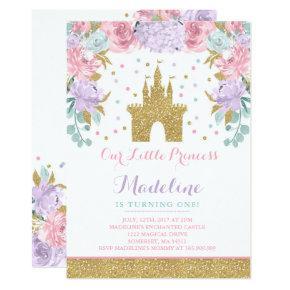 Prince Birthday Invitation Gold Princess Catle