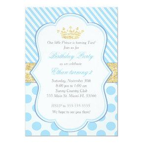 Prince Birthday Party Invitations Blue Gold Glitter