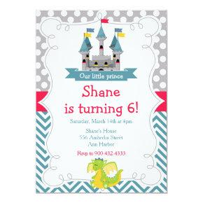 Prince Birthday Party Teal and Red Invitation