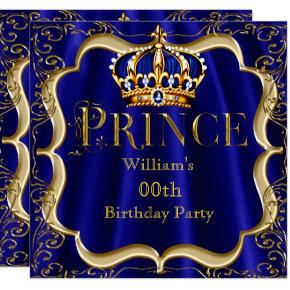 Prince Birthday Royal Blue Gold Crown Mens 2 Invitation