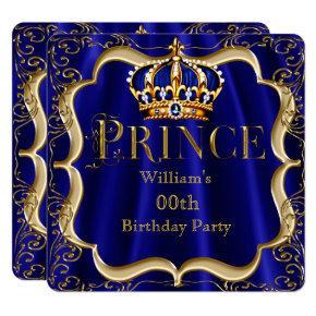 Prince Birthday Royal Blue Gold Crown Mens 2 Invitation