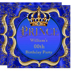 Prince Birthday Royal Blue Gold Crown Mens Invitations