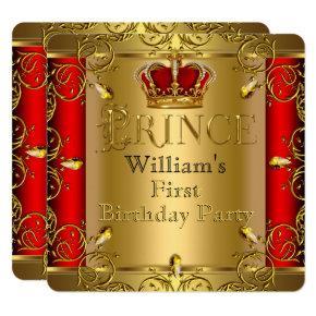 Prince First 1st Birthday Boy Red Gold Crown Invitation