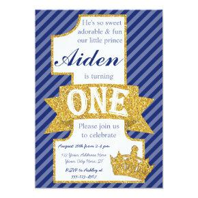 Prince First Birthday Invitations with Envelopes