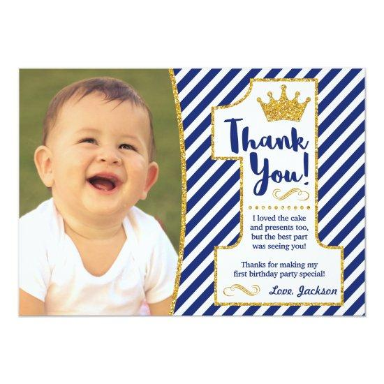 prince first birthday thank you invitations - First Birthday Thank You Cards
