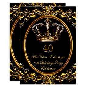 Prince King Gold Royal Black Crown Birthday 3 Card