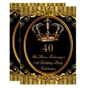 Prince King Gold Royal Black Crown Birthday 4 Invitation