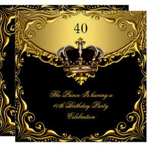 Prince King Gold Royal Black Crown Birthday Invitations