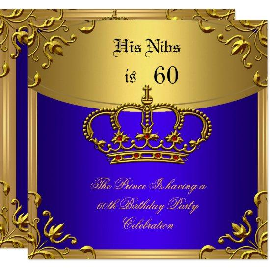 Prince king red gold royal blue crown birthday 60 invitations prince king red gold royal blue crown birthday 60 invitations filmwisefo
