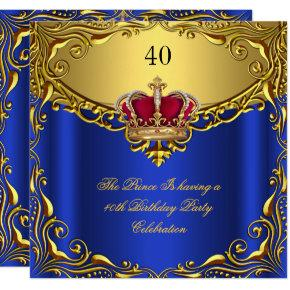 Prince King Red Gold Royal Blue Crown Birthday Invitations